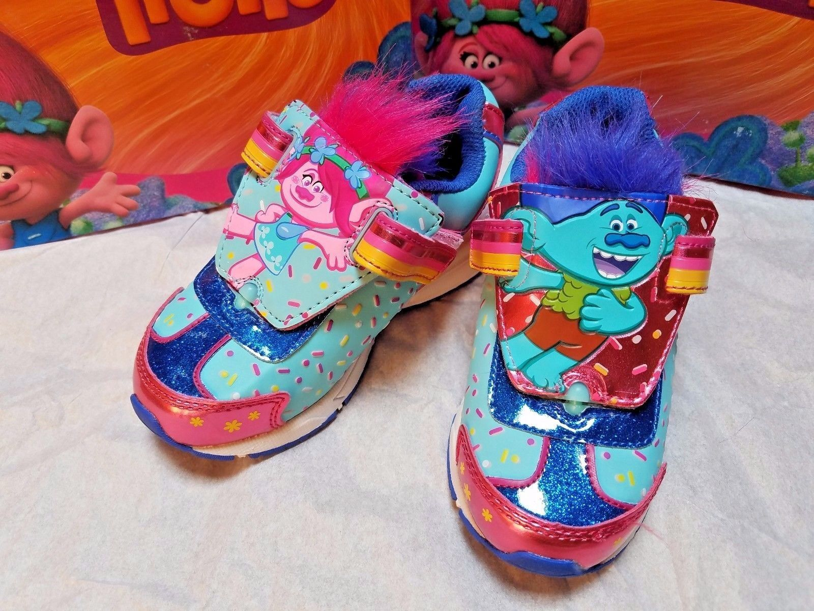 Toddler Trolls Reversible Light Up Sneakers Size 5 6 or  9 Poppy Branch