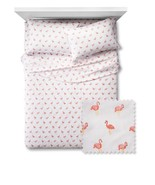 Pillowfort Twin Size Flat Sheet Standard Pillowcase Flamingo Print Pink ... - $23.75