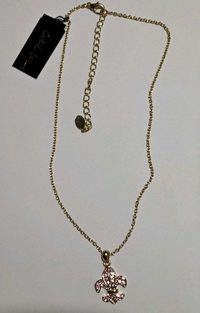 Cookie Lee Pink Crystal Fleu De Lis Pendant Goldtone Necklace image 2