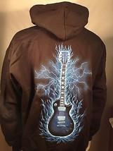 GUITAR Blau Logo Lightning Flammen Sweatshirt Kapuzenpullover S M L XL 2XL 3XL - $41.88
