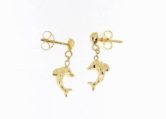 18K YELLOW GOLD EARRINGS WITH VERY SHINY DOLPHIN WORKED MADE IN ITALY 0.51 IN