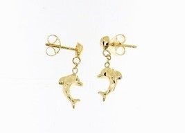 18K YELLOW GOLD EARRINGS WITH VERY SHINY DOLPHIN WORKED MADE IN ITALY 0.51 IN image 1