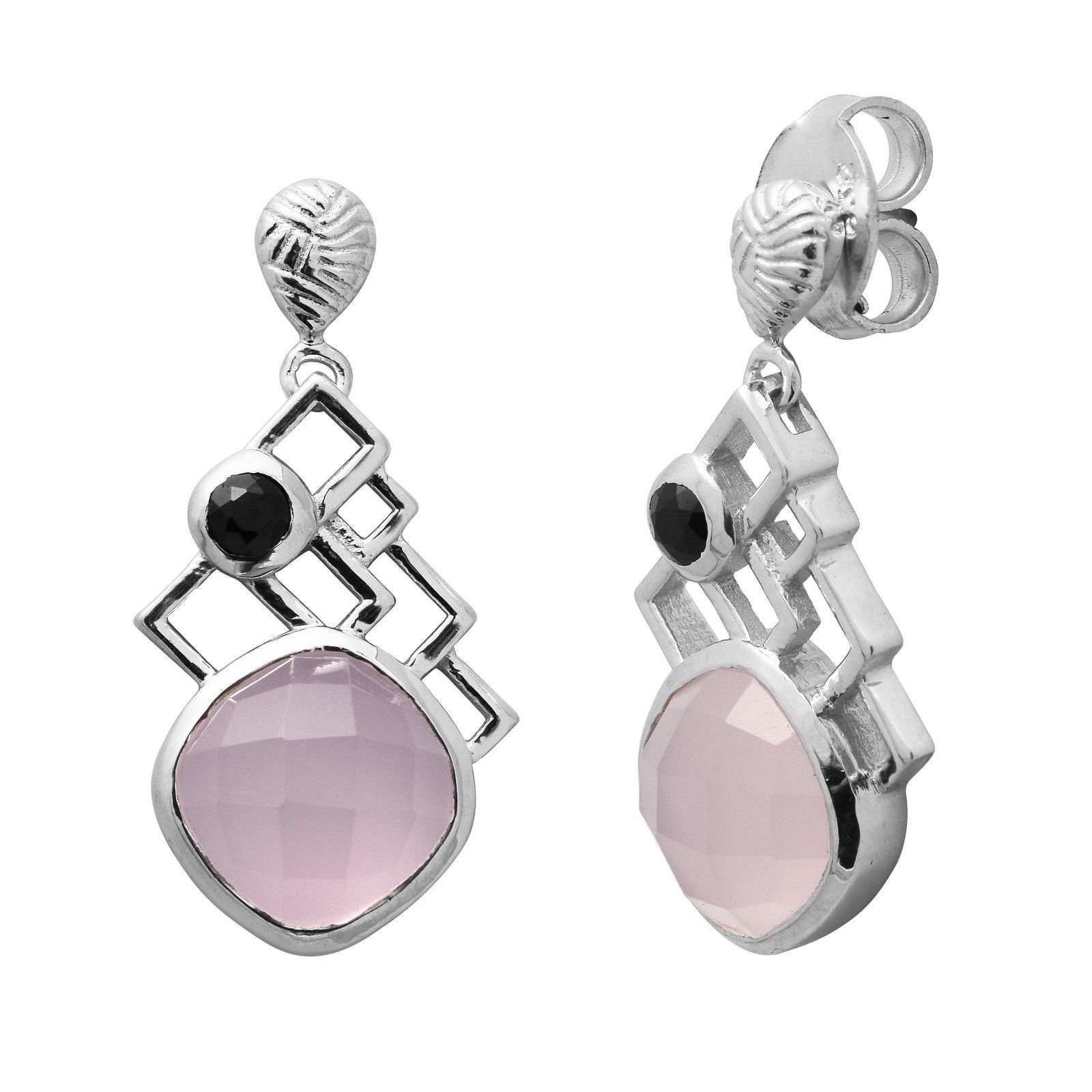 Cushion Cut Rose Quartz Black Spinel Round Bezel 925 Silver Women Earring Drop
