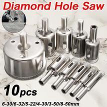 Hot Sale 10PCS/set 8-50mm Diamond Coated Core Hole Saw Drill Bits Tool C... - $10.88