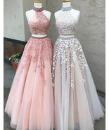 Sexy Two Piece Ivory Prom Dresses, Long Pink Prom Dress with Appliques - $179.99+