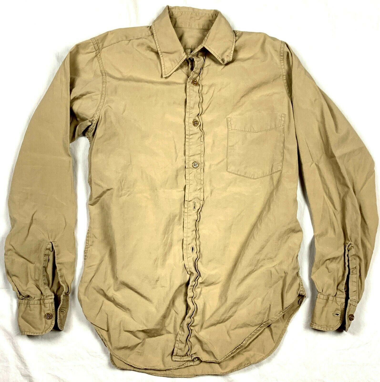 Vtg WWII Korean US Army Military Infantry Khaki Long Sleeve Uniform Dress Shirt - $44.99