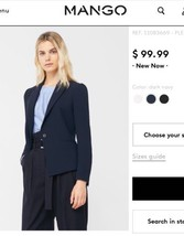 MNG by MANGO Women's Navy Blue Work Essential Basics Blazer Jacket Sz 4 ... - $55.85