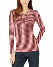 Michael Kors Ribbed Lace-Up Top (Bright Terra Cotta/White, L) - $55.41