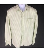 American Eagle Men's Dress Shirt Green White L - $19.79