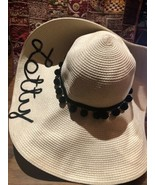 Hats By Olivia Vintage Style New Ivory And Black Woven Straw Wide Brim Sun Hat - $51.47