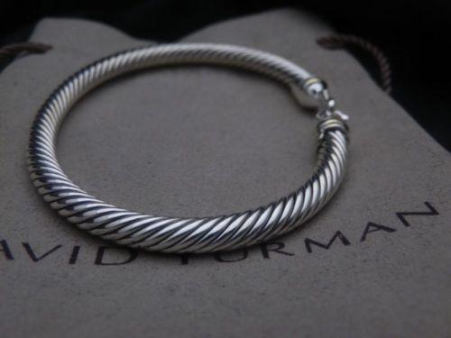 David Yurman Sterling Silver 925 5mm Cable Buckle 18k Gold Cuff Bracelet