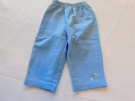 Carter's Child of Mine Baby Girls Pants Size 12 Months Blue Pull On flowers GUC - $24.74