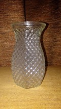 Vintage Small Hoosier Glass Clear Diamond Cut  Glass Vase - $8.99