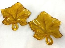 Vintage Leaf Shaped Amber Textured Pressed Glass Plates Set of 2 - $18.99