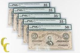 Lot of 5 SECUENCIALES 1864 Confederado graduado Por PMG COMO CH vf-35 & ... - $1,062.34