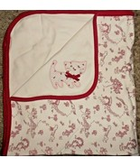 2006 Gymboree Outlet Girl Kitty Cat Blanket Red Ivory Cream Park Fence Gate - $25.51