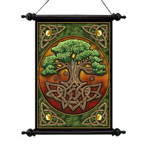 Celtic Roots Legendary Tree of Life Vinyl-Canvas Wall Hang Scroll Tapest... - $784,89 MXN