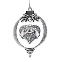 Inspired Silver Doula Pave Heart Holiday Decoration Christmas Tree Ornament - $14.69