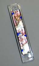 Murano Glass Handmade Mezuzah Case w 6.5 cm Scroll Silver Foil Lavender Blue
