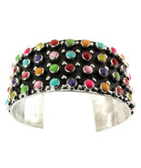 STERLING SILVER MULTI-COLOR CUFF BRACELET | Taxco 925 Silver Jewelry - $161.45
