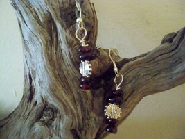 Natural Healiing Garnet Earrings  Earwires Marked 925 Sliver Natural Stone - $12.86