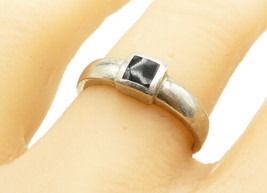 925 Sterling Silver - Vintage Square Black Onyx Inlay Band Ring Sz 8 - R... - $22.82