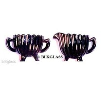 Imperial Black Glass Creamer And Sugar Pillar Flute Pattern - $24.99