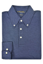 Brooks Brothers Blue Striped Slim Fit Long Sleeve Polo Shirt Sz Small S 3438-7 - $116.82