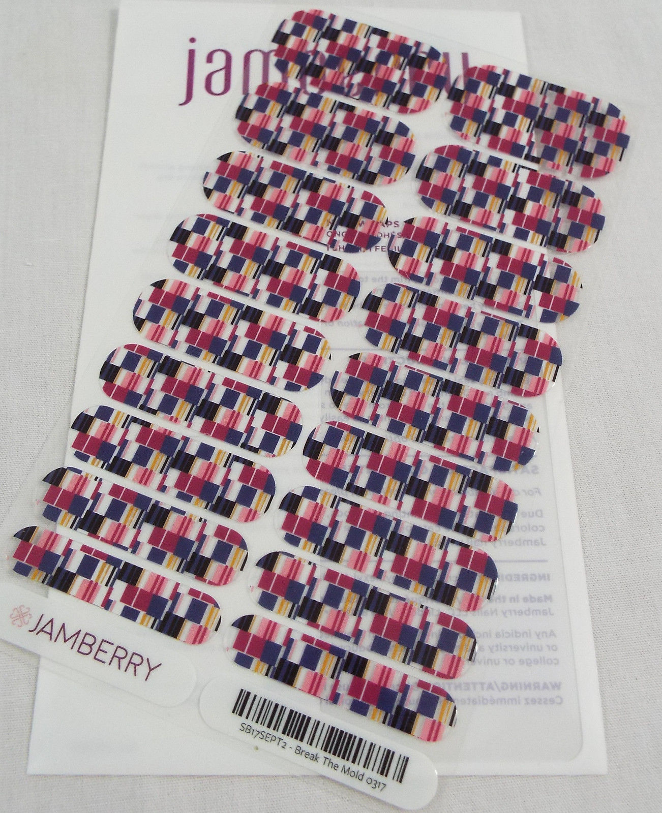 Jamberry Break The Mold 0317 StyleBox SB17SEPT2 Nail Wrap Full Sheet