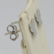 SOLID 18K WHITE GOLD EARRINGS FLAT BUTTERFLY, SHINY, SMOOTH, 8 MM, MADE IN ITALY image 2