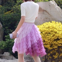 Women Tiered Tulle Skirt Plus Size Knee Length Pink Tulle Skirt Holiday Outfit image 2