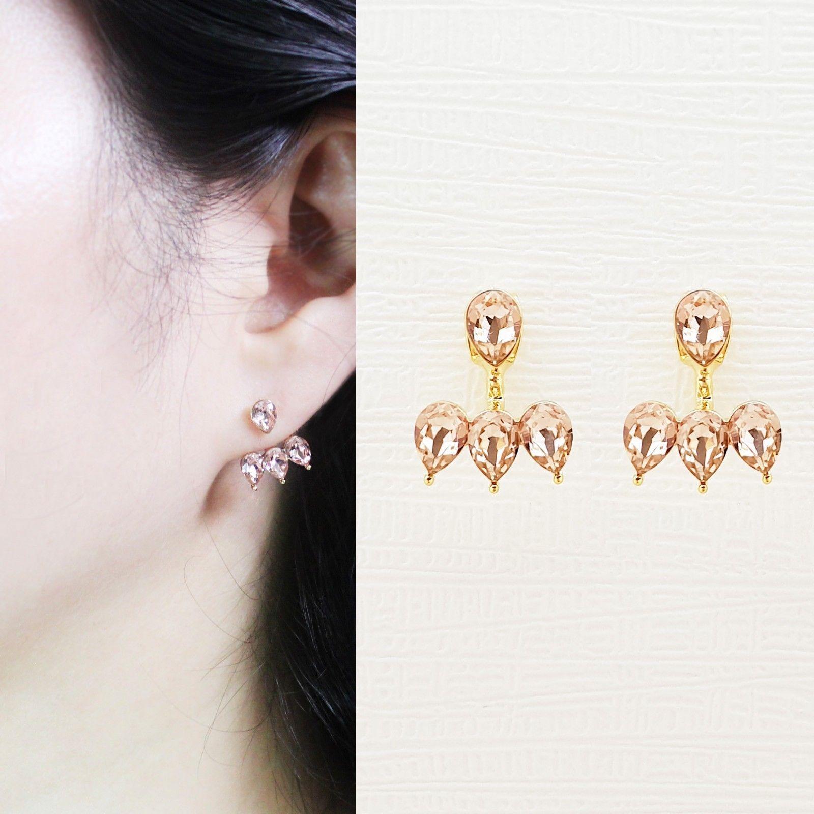 Rain Drop Double Sided Made With Swarovski Crystal Dangle Earrings 925 Silver