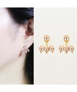 Rain Drop Double Sided Made With Swarovski Crystal Dangle Earrings 925 S... - $32.71