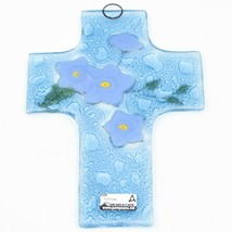 """Handmade Fused Art Glass Forget Me Not Floral Flower Cross 5.5"""" Sun Catcher image 2"""