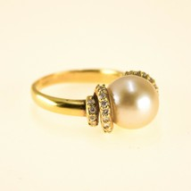 18k Gold Freshwater Pearl Ring and diamonds UK size M BHS - $975.01
