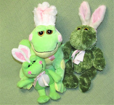EASTER FROG Lot with BUNNY EARS Plush Stuffed Animal Toy Ganz ANIMAL ADV... - $28.04