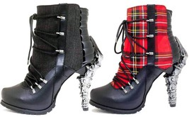 Hades SHADE Black Red Gothic Ankle Boots Lace Up High Talon Heels Plaid Canvas - $155.00