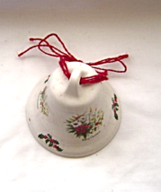 Ceramic Poinsettia Merry Christmas Bell Ornament - $9.99