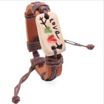 Leather Bracelets Couple Painted Pottery  Letter Stone Bangles Unisex  V... - $11.99+