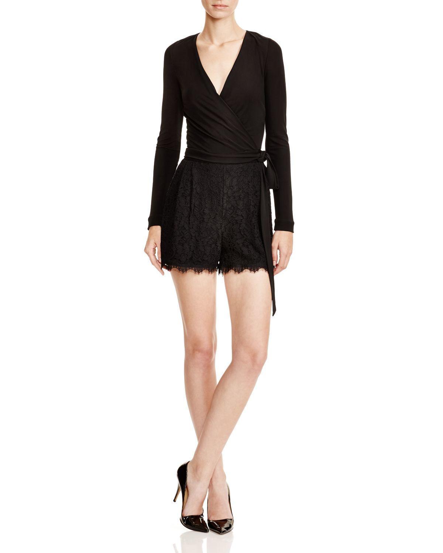 DVF Diane Von Furstenberg Tillie Surplice Lace-Trim Romper, Black- Size 12 NWT