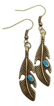 Feather Earrings Turquoise Native American Style Bronzed Trending Fashio... - $2.82