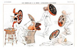 French Pinups: La Vie Parisienne - Japanese Umbrellas  - Prejelan - 1913 - $12.82+