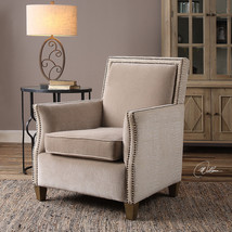 NEW DOUBLE NAIL HEAD ACCENT CLUB CHAIR PLUSH OATMEAL WHITE CHENILLE CURV... - $833.80