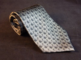 Mens Silk Neck Tie Bill Blass Neo Black Grey Scale Pattern Imported Dress Tie - $11.87