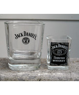 Old No 7 Jack Daniels Embossed  Rocks Glass 8 oz & Shot Glass Square Shape - $28.66