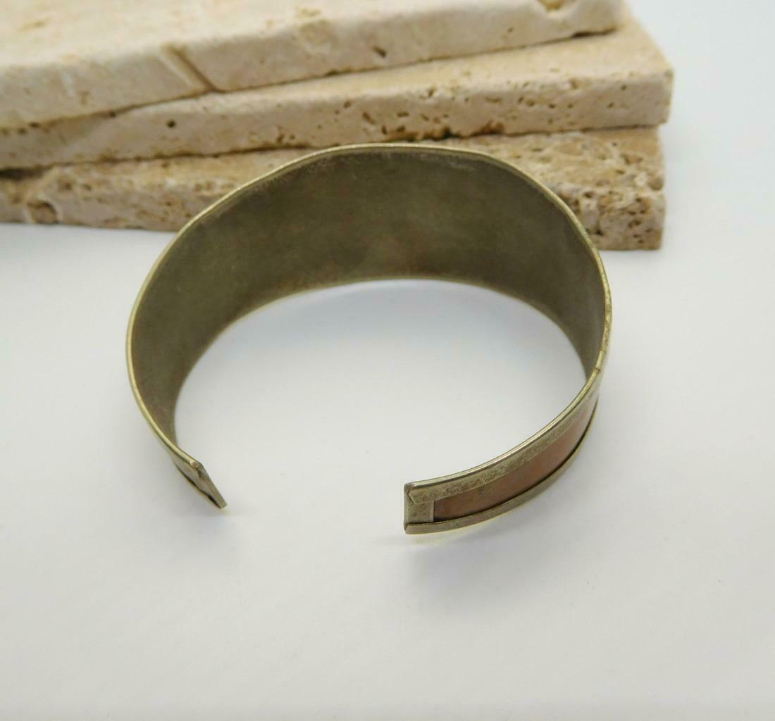 Vintage Handcrafted Mixed Metal Silver Copper Brass Embossed Cuff Bracelet Z33 image 4