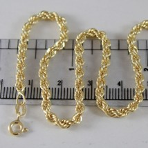 18K YELLOW GOLD BRACELET, 3.5 MM BRAID ROPE LINK, 7.50 INCH LONG, MADE IN ITALY image 1