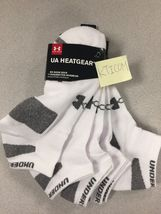 New 4pair Under Armour Men's Heatgear No Show Socks 23%cotton White Sz:L - $15.99