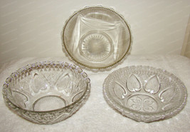 FNG Pressed Glass Serving Bowl's (3pcs) Lace, Heart, Rope, Tulip - $28.22