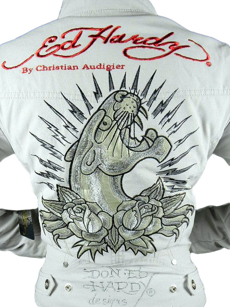 Ed Hardy Christian Audigier Women's Graphic Jacket Panther Taupe Size M